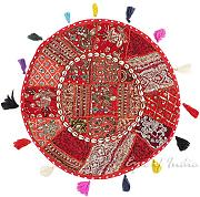 "EYES OF INDIA - 22"" ROT RUND DEKORATIV PATCHWORK BODEN KISSENBEZUG Indische Dekoration"