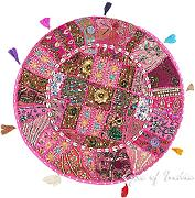 "EYES OF INDIA - 28"" PINK RUND PATCHWORK DEKORATIVER BODEN KISSENBEZUG Indische Dekoration"