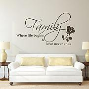 Family Where Life Begins & Love Never Ends Familie Wandtattoo Dekoration Vinylwand Aufkleber (DunkelBraun , Medium)