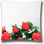 FlowerArtC9640-Popular Zippered Cushion Cover Artificial Flowers Throw Pillow Cover 18 x 18 Pillow Sham-Black Friday Selling 2015