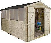 Forest opa812ddhd 12 x 8 Ft Apex Gartenhaus Double Door Garden Shed – Natur