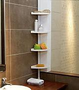 Produktbild: FunkyBuysÃ'® WHITE 4 Tier Adjustable 70-240 cm (SI-077) Telescopic Corner Shower Bathroom Shelf Organiser Caddy by FunkyBuys