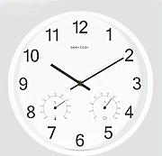 Geekcook Einfache Metall Nordic Simple Style Feuchtigkeitsmesser Multifunktionale Wanduhr Home Sweet Home Wanduhr ( Farbe : Weiß )