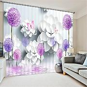 GFYWZ Gardinen Polyester Blumen 3D Stereo Vision Digitaldruck Stoffe Blackout Insulated Lärmminderungsmassiv Thermal Schlafzimmer Schiebegardine Home Decor Fenster Vorhänge , 2 , wide 150x high 166 (wide 75x2)