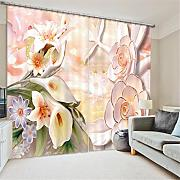 GFYWZ Gardinen Polyester Blumen 3D Stereo Vision Digitaldruck Stoffe Blackout Insulated Lärmminderungsmassiv Thermal Schlafzimmer Schiebegardine Home Decor Fenster Vorhänge , 1 , wide 2.03x high 1.6