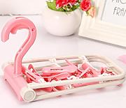 GFYWZ Kleiderbügel Portable faltbare Kunststoff rutschfest Multi Purpose 10 clips Magic Hangers(pack of 5) , pink