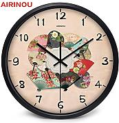 Goonss Chinese Fan With Flower Pattern Colorful Wall Clock Make By Metal And Glass Artist,A026B,12 Inch