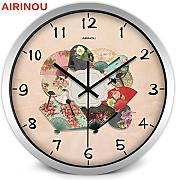 Goonss Chinese Fan With Flower Pattern Colorful Wall Clock Make By Metal And Glass Artist,A026S,10 Inch