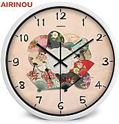 Goonss Chinese Fan With Flower Pattern Colorful Wall Clock Make By Metal And Glass Artist,A026W,12 Inch