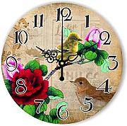 Goonss Vintage Home Decor Silent Decorative Wall Clock Warranty 3 Years The Bird Wall Decoration Retro Watch Wall For Living Room Gift,Style 1,12 Inch