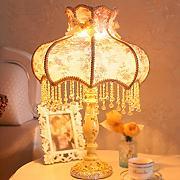 Gute Sache Tischleuchte Continental Pastoral Style Lampe Nachttischlampe Warm Tuch Lampenschirm Kreativ Tischlampe Beleuchtung