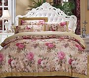 GY&H European style simple cotton satin colored cotton twill jacquard embroidery 40 cotton bed four sets of bedding (Queen, King),D,Queen
