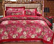 GY&H European style simple cotton satin colored cotton twill jacquard embroidery 40 cotton bed four sets of bedding (Queen, King),H,Queen