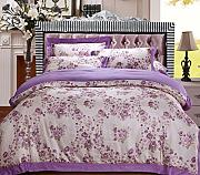 GY&H European style simple cotton satin colored cotton twill jacquard embroidery 40 cotton bed four sets of bedding (Queen, King),G,Queen