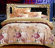 GY&H European style simple cotton satin colored cotton twill jacquard embroidery 40 cotton bed four sets of bedding (Queen, King),F,King