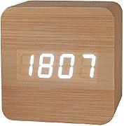 Produktbild: Haodasi USB Sound Control Wood Holz Cube Digital LED Desk Alarm Clock Uhr Thermometer Timer Bamboo white light