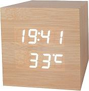 Produktbild: Haodasi Voice Control Wood Holz Cube LED Alarm Digital Desk Clock Uhr Wooden Thermometer 8*8*8 Bamboo white light