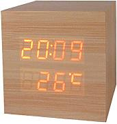 Produktbild: Haodasi Voice Control Wood Holz Cube LED Alarm Digital Desk Clock Uhr Wooden Thermometer 8*8*8 Bamboo red light
