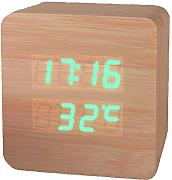 Produktbild: Haodasi Voice Control Wood Holz Cube LED Alarm Digital Desk Clock Uhr Wooden Thermometer 910 Bamboo green light