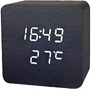 Produktbild: Haodasi Voice Control Wood Holz Cube LED Alarm Digital Desk Clock Uhr Wooden Thermometer 910 Black Wood Holz white light
