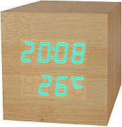 Produktbild: Haodasi Voice Control Wood Holz Cube LED Alarm Digital Desk Clock Uhr Wooden Thermometer 8*8*8 Bamboo green light