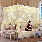 HOME UK- European Style Square Top Mosquito Net Dreitürige Verschlüsselung Verdickung Single Doppelbett Edelstahl Halterung Beige ( Farbe : 22mm , größe : 1.2m (4 feet) bed )