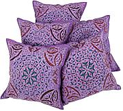 Indisch blumen Baumwolle Pillow cover Elegant Lila Wohnzimmer design pillow case Sofa 43x43 Kissenbezüge Set 5 Traditional Kissenhülle By Rajrang