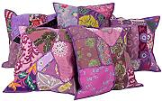 Indisch Design Baumwolle Cushion Cover Elegant Lila Wohnzimmer Patchwork Zierkissenbezüge Sofa 40x40 Pillowcases Set 5 Traditional Kissenbezug By Rajrang