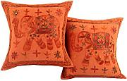 Indisch elefant Baumwolle Cushion Cover Elegant Orange Wohnzimmer stickerei Zierkissenbezüge Sofa 40x40 Pillowcases Set 2 Traditional Kissenbezug By Rajrang