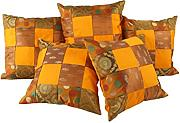 Indisch punkte Brokat Cushion Cover Elegant Gelb Wohnzimmer Patchwork Zierkissenbezüge Sofa 40x40 Pillowcases Set 5 Traditional Kissenbezug By Rajrang