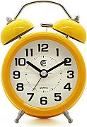 Produktbild: JCC 3 Retro Twin Bell Silent Non Ticking Sweep Second Hand Bedside Analog Quartz Alarm Clock wake up clock with Night light and Loud Alarm (Yellow) by JCC