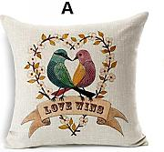 Jtartstore Minimalist style flower bird linen pillow for sofa cartoon car cushions 18 x 18 inches