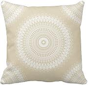 KarilShop Almond And White Mandala Linen Throw Pillow Case Cushion Cover Home Sofa Decorative 18 X 18