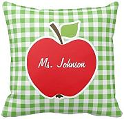 KarilShop Apple For Teacher Green Checkered Gingham red Linen Throw Pillow Case Cushion Cover Home Sofa Decorative 18 X 18 Inch.