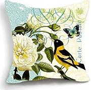 KarilShop Bird with Butterfly on Flower Lavander blue Linen Throw Pillow Case Cushion Cover Home Sofa Decorative 18 X 18 Inch.