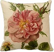 KarilShop Pink Vintage Rose Linen Throw Pillow Case Cushion Cover Home Sofa Decorative 18 X 18 Inch.