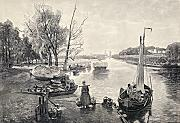 Ken Welsh / Design Pics – A Dutch Canal From A 19Th Century Print. From Die Gartenlaube Published 1905. Photo Print (86,36 x 60,96 cm)