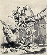 Ken Welsh / Design Pics – Don Quixote Attacking The Windmills Believing Them To Be Giants From Don Quixote De La Mancha By Miguel De Cervantes Saavedra. From Die Gartenlaube Published 1905. Photo Print (66,04 x 81,28 cm)