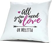 Kopfkissen mit Namen Melitta - Motiv all you need is love or..., 40 cm, 100% Baumwolle, Kuschelkissen, Liebeskissen, Namenskissen, Geschenkidee