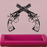 "Kult Kanvas 142 x 60 cm große ""Six Shooters"" Wandtattoo, Hocker, rot, 60 x 142 cm Large"