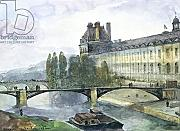 "Leinwand-Bild 100 x 70 cm: ""View of the Pavillon de Flore of the Louvre, 1844 (pen & ink and w/c on paper)"", Bild auf Leinwand"