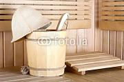 "Leinwand-Bild 50 x 30 cm: ""Traditional wooden sauna for relaxation with bucket of water"", Bild auf Leinwand"