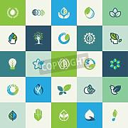 "Leinwand-Bild 70 x 70 cm: ""Set of flat design nature icons for websites, print and promotional materials, web and mobile services and apps icons, for food "", Bild auf Leinwand"