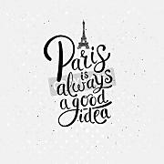 "Leinwand-Bild 90 x 90 cm: ""Simple Graphic Design for Paris is Always a Good Idea Concept with Eiffel Tower on Dotted Off White Background."", Bild auf Leinwand"
