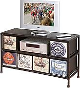 Links 85900020 TV Regal Hifi Media Rack TV Center Konsole Vintage Retro USA Metall 6 Schubladen