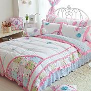 memorecool Haustierhaus Prinzessin Stil. 3D Flower Bettwäsche-Set Sweet Design Girly Bettwäsche 100% Baumwolle Bett Rock Mädchen Bettwäsche-Set Twin Größe, baumwolle, 4Pcs, Queen