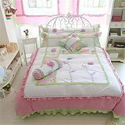 memorecool Haustierhaus Rosa Prinzessin Stil. 3D Flower Bettwäsche-Set Sweet Design Girly Bettwäsche 100% Baumwolle Bett Rock Mädchen Bettwäsche-Set Twin Größe, baumwolle, 3Pcs, Twin