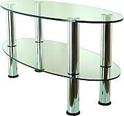 Produktbild: Mountright Oval Glas Couchtisch Clear Glass - Silver Legs