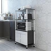Multifunktions-Küchenregal Mikrowelle Ofen Regal Küche Regal Boden Ständer Kreativ Multi-Regal Multifunktions Incorporated Storage Rack (vier Ebenen) CHUFZWJ- Kitchen Storage rack and Shelf ( Farbe : Schwarz , größe : B )