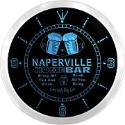 ncp2223-b NAPERVILLE Home Bar Beer Pub LED Neon Sign Wall Clock Uhr Leuchtuhr/ Leuchtende Wanduhr